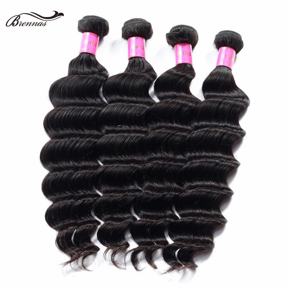 Brennas 100% Human Virgin Loose Wave Hair Bundles for Black Women 100g/pack Natural Color  1