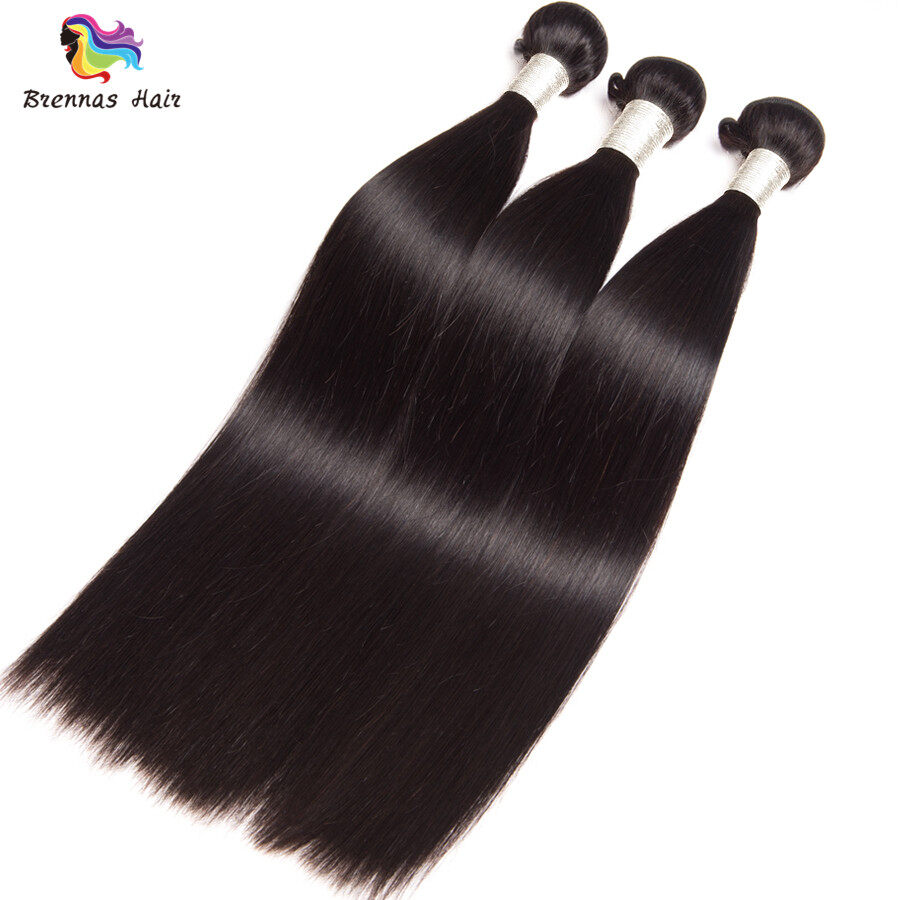 Straight Human Virgin Hair 3bundles With 4x4 Lace Closure Baby Hair For Black Women