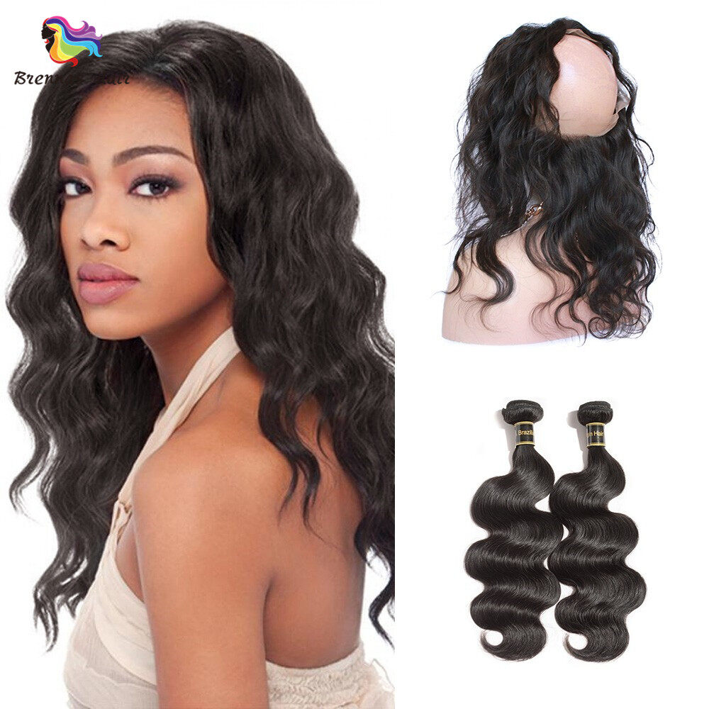 Brazilian body wave hair 3bundles with 360 lace frontal closure with baby hair For Black Women Brazilian virgin Hair 0