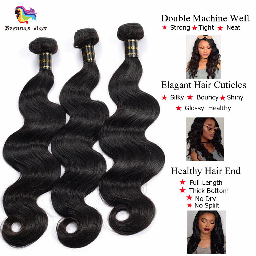 Brazilian body wave hair 3bundles with 360 lace frontal closure with baby hair For Black Women Brazilian virgin Hair 1