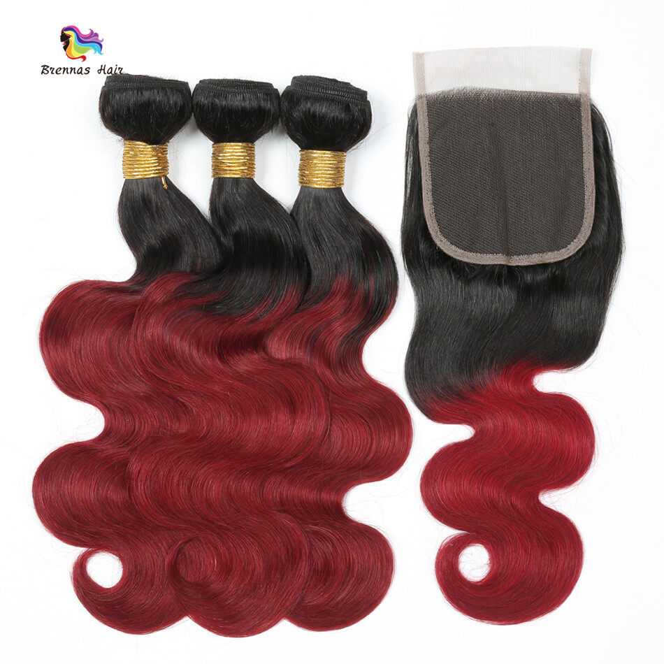 #1b bug Body wave 3bundles with 4X4 lace closure baby hair best quality ombre color Natural Hairline 0