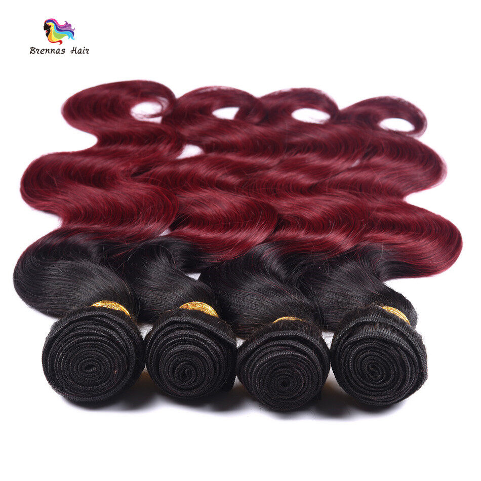 #1b bug Body wave 3bundles with 4X4 lace closure baby hair best quality ombre color Natural Hairline 2