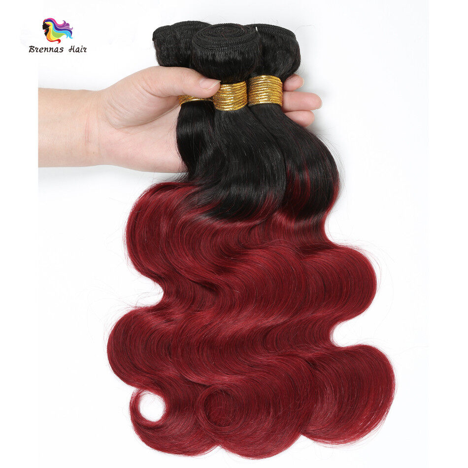 #1b bug Body wave 3bundles with 4X4 lace closure baby hair best quality ombre color Natural Hairline 3