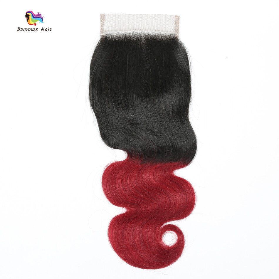 #1b bug Body wave 3bundles with 4X4 lace closure baby hair best quality ombre color Natural Hairline 4