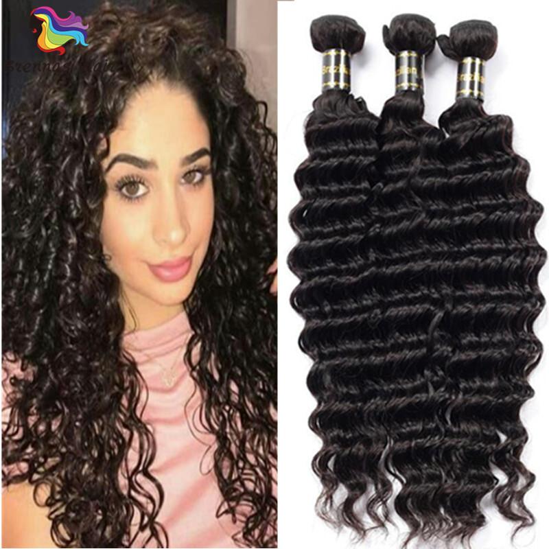 Brazilian Deep Curly Hair Bundles 3pcs 8 26inch Natural Black Tangle