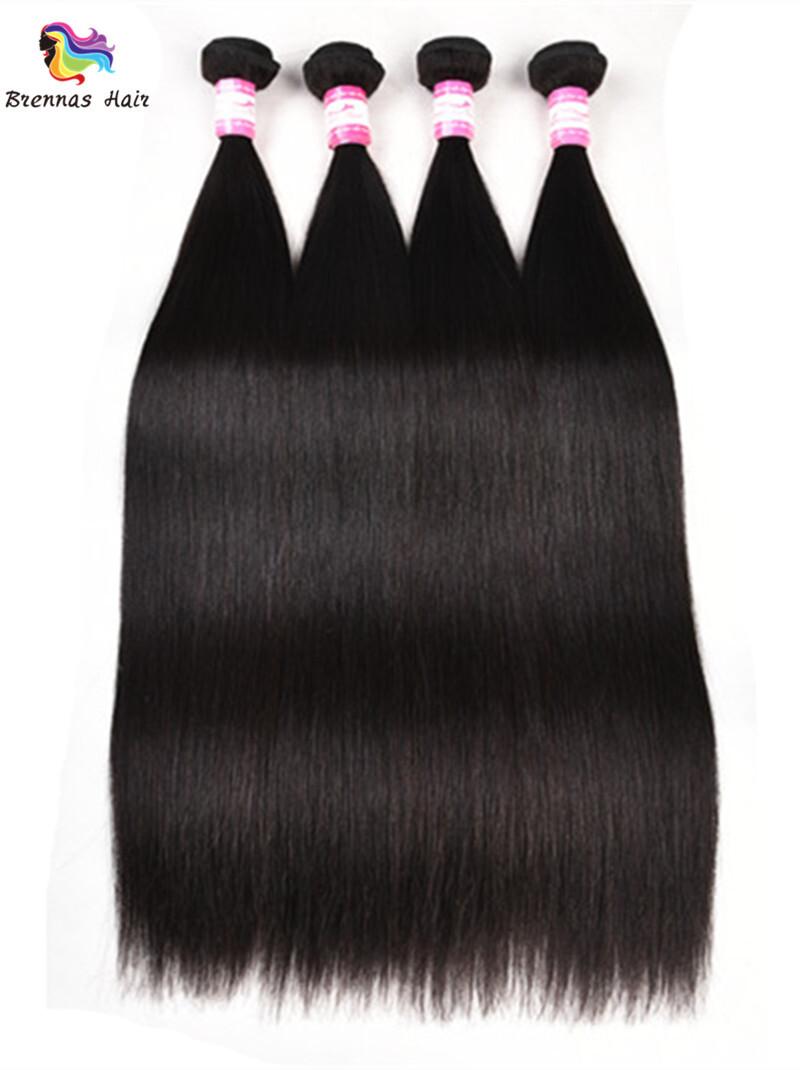 Sliky Straight human virgin Hair Bundles 8-30inch Natural black unprocessed Hair for black woman double drawn 2