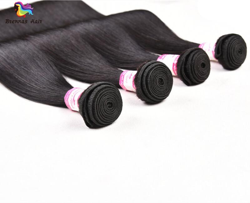 Sliky Straight human virgin Hair Bundles 8-30inch Natural black unprocessed Hair for black woman double drawn 1