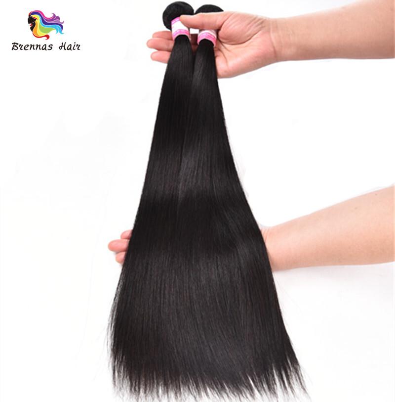 Sliky Straight human virgin Hair Bundles 8-30inch Natural black unprocessed Hair for black woman double drawn 4
