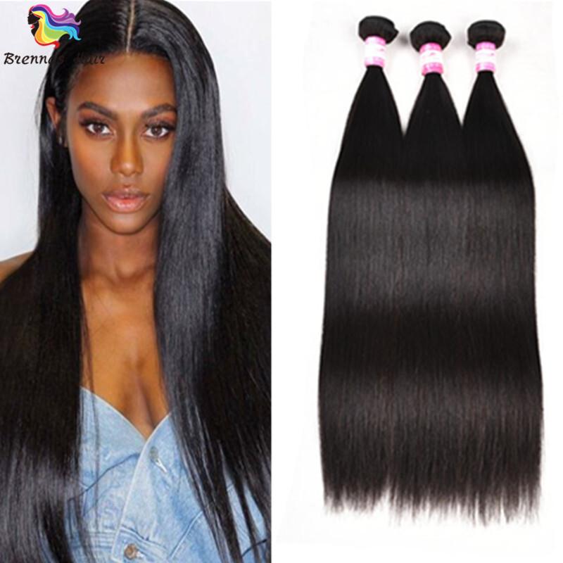 Sliky Straight human virgin Hair Bundles 8-30inch Natural black unprocessed Hair for black woman double drawn 0