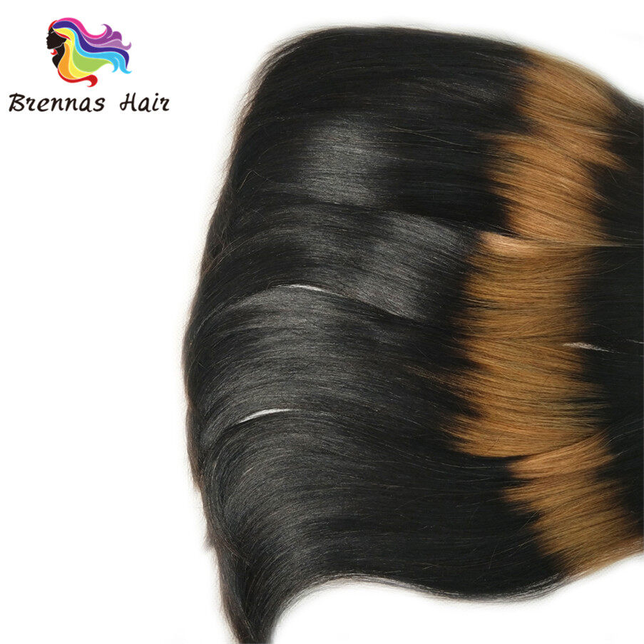 funmi/fumi double drawn straight end curly human hair bundles/extension ombre 3tone color 1b/30/1b for black wome 2