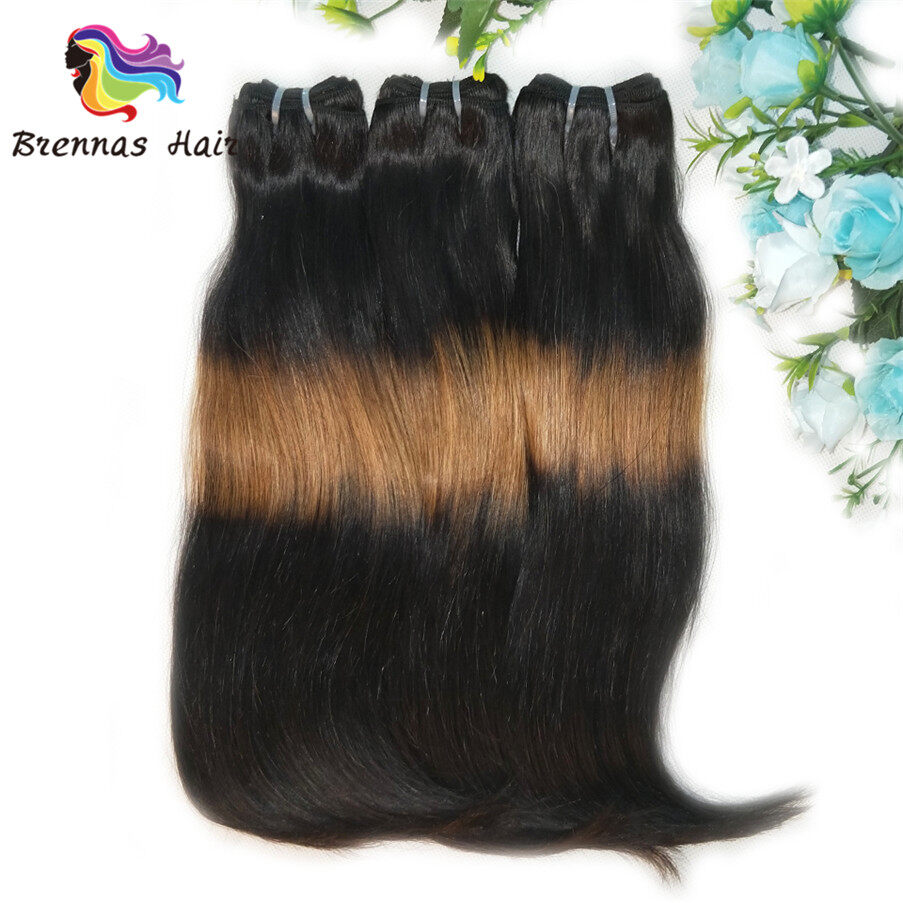 funmi/fumi double drawn straight end curly human hair bundles/extension ombre 3tone color 1b/30/1b for black wome 1