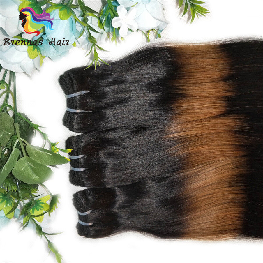funmi/fumi double drawn straight end curly human hair bundles/extension ombre 3tone color 1b/30/1b for black wome 3