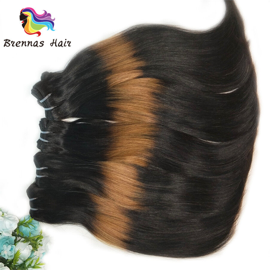 funmi/fumi double drawn straight end curly human hair bundles/extension ombre 3tone color 1b/30/1b for black wome 5