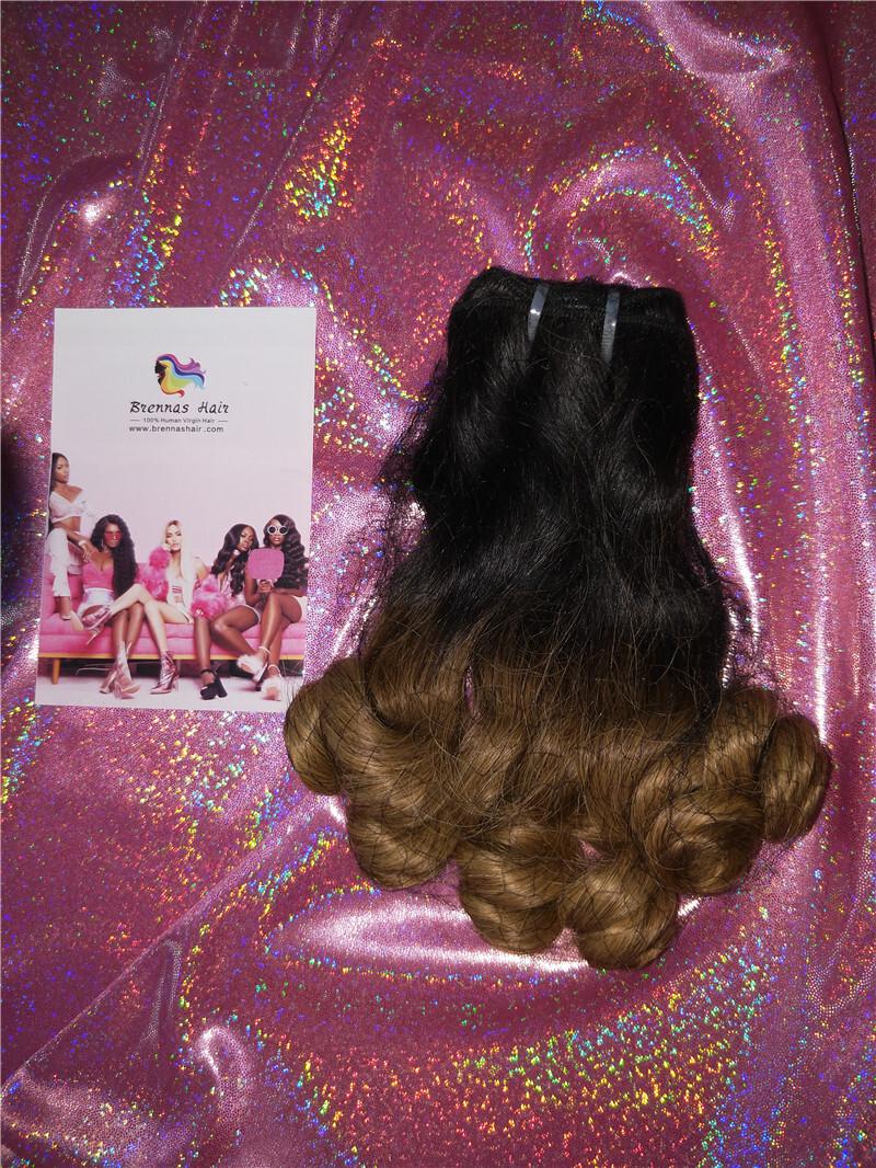 hot sale funmi/fumi double drawn spring curl loose wave human hair bundles/extension ombre 2tone color 1b/30 for black women 0