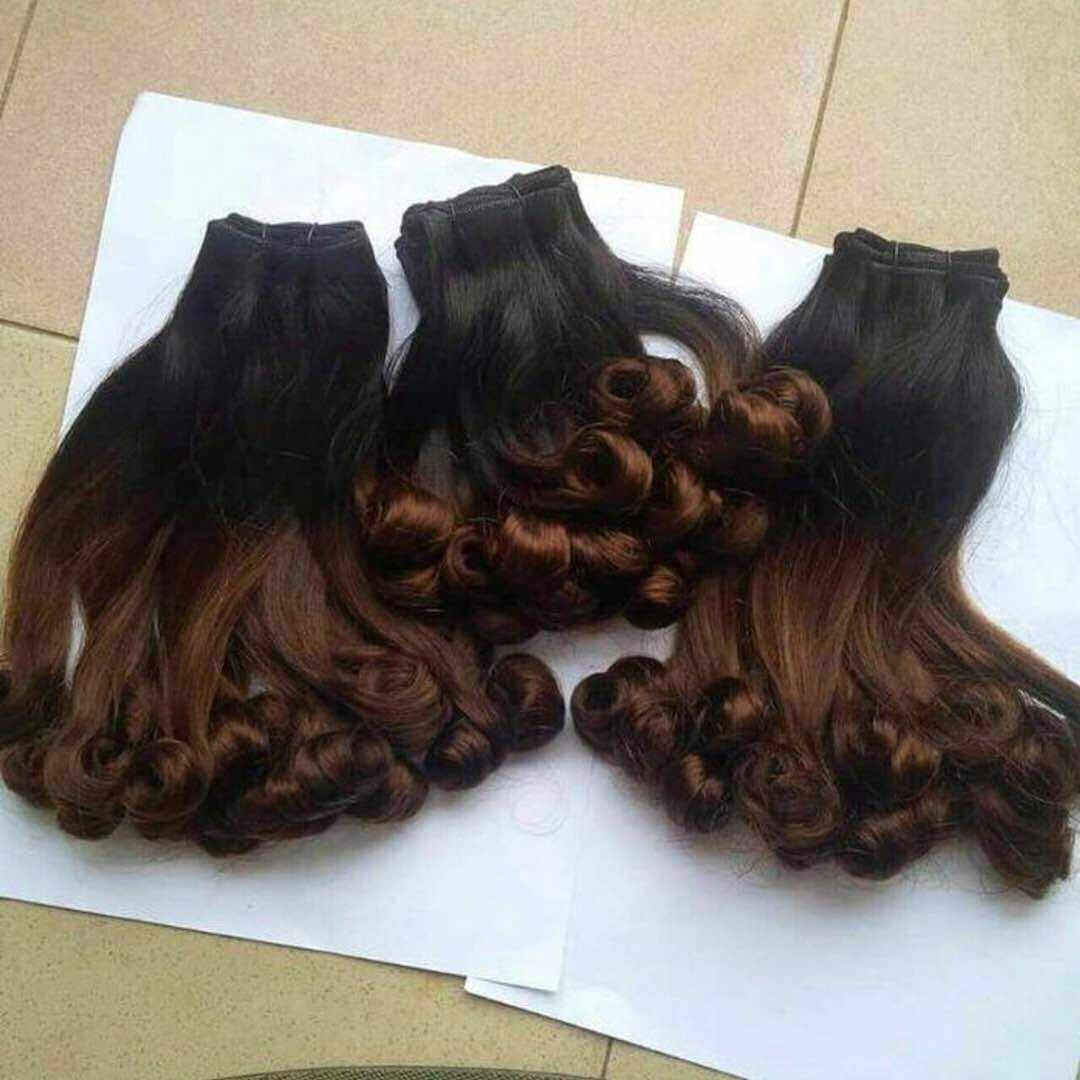 funmi/fumi spring curl 100% human hair bundles/extension high quality ombre 2tone color 1b/4 for black women 2
