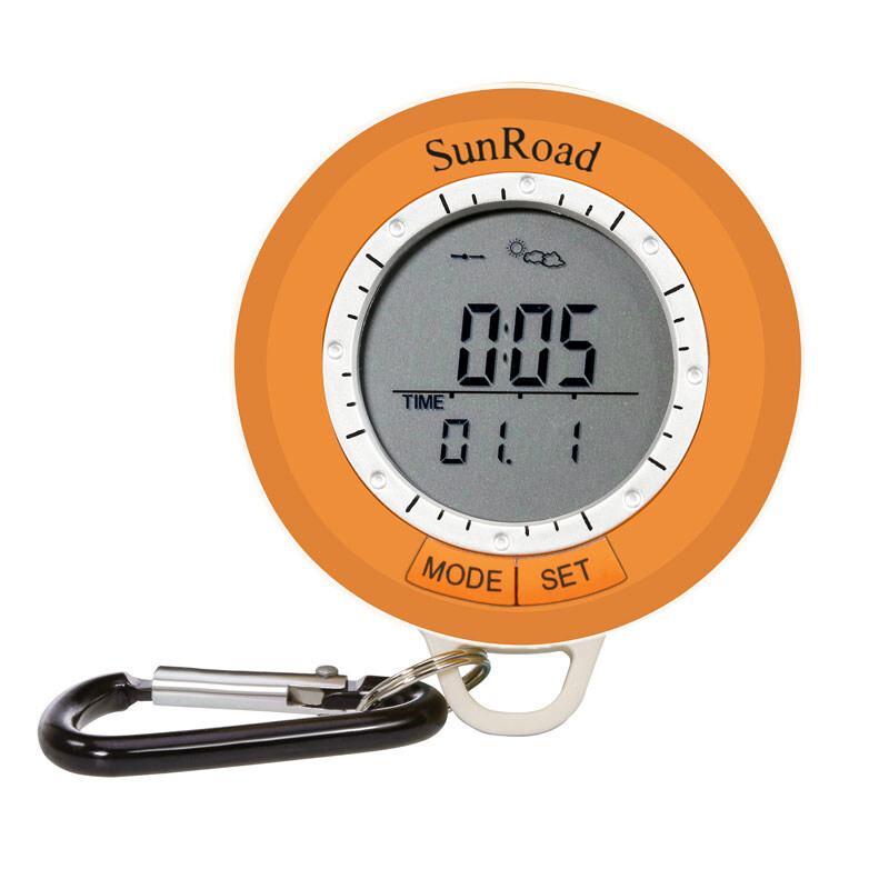 Mini Hiking altimeter-Pedometer Altimeter Thermometer Compass Weather Forecast Yellow Men Pocket Clock 1