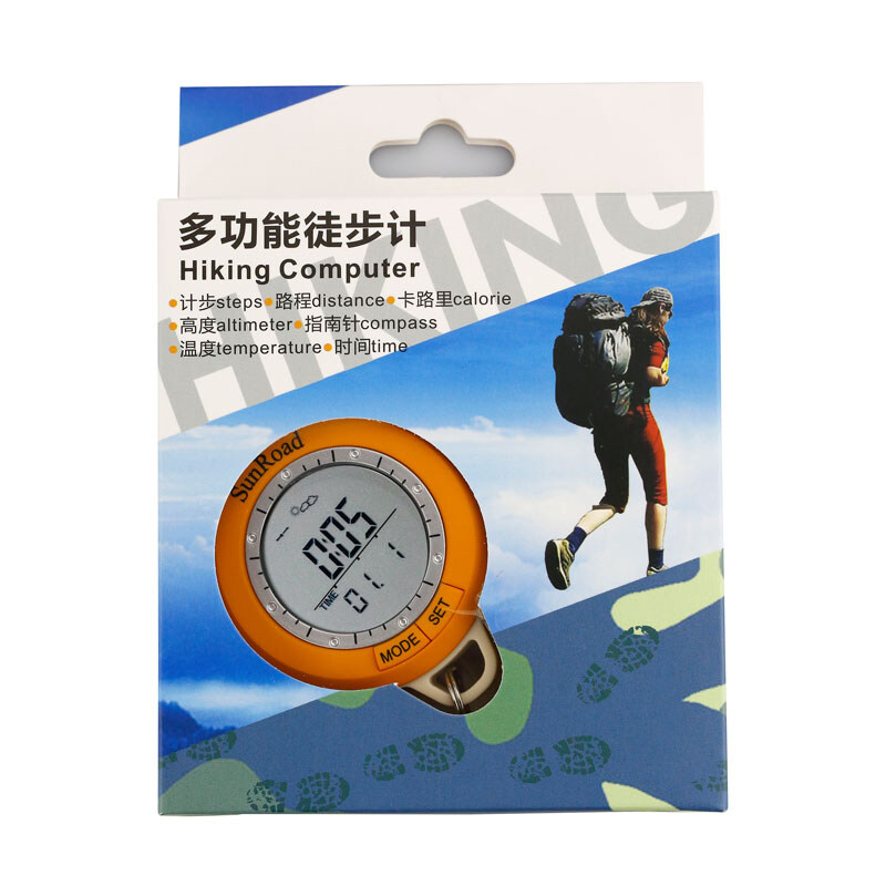 Mini Hiking altimeter-Pedometer Altimeter Thermometer Compass Weather Forecast Yellow Men Pocket Clock 4