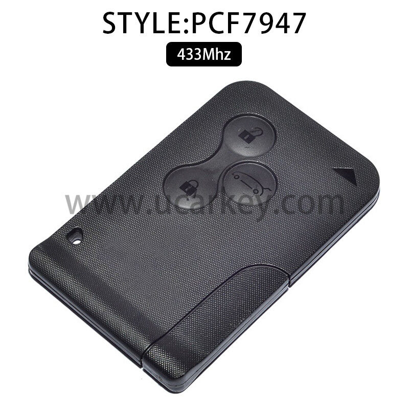 AK010016 for Renault Clio Smart Card 3 Button 433MHz PCF7947 Without Logo 0