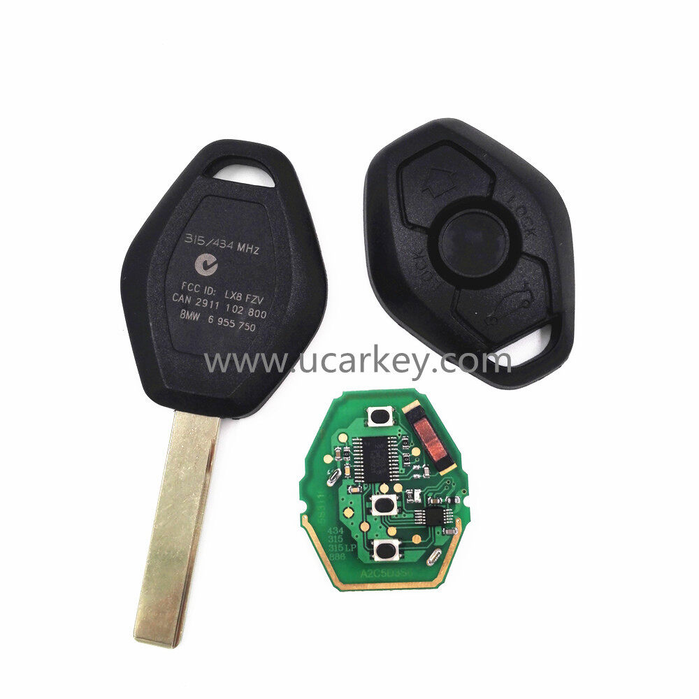 3 button Straight Remote Car Key For BMW CAS2 315MHZ With 46 Electronic Chip (PCF7942) with HU92 Blade 2