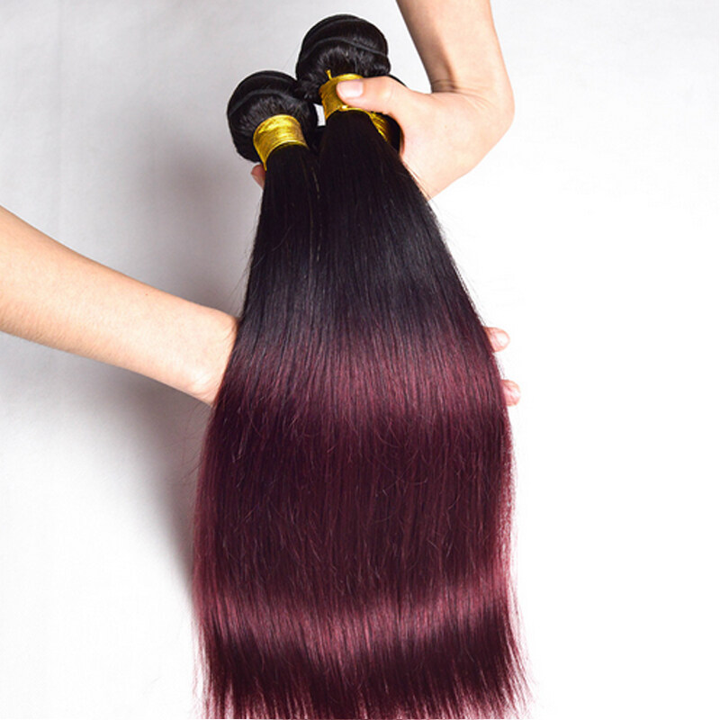 Glamorous Remi Hair 1b 99j Ombre Straight Hair Bundles 100 Human