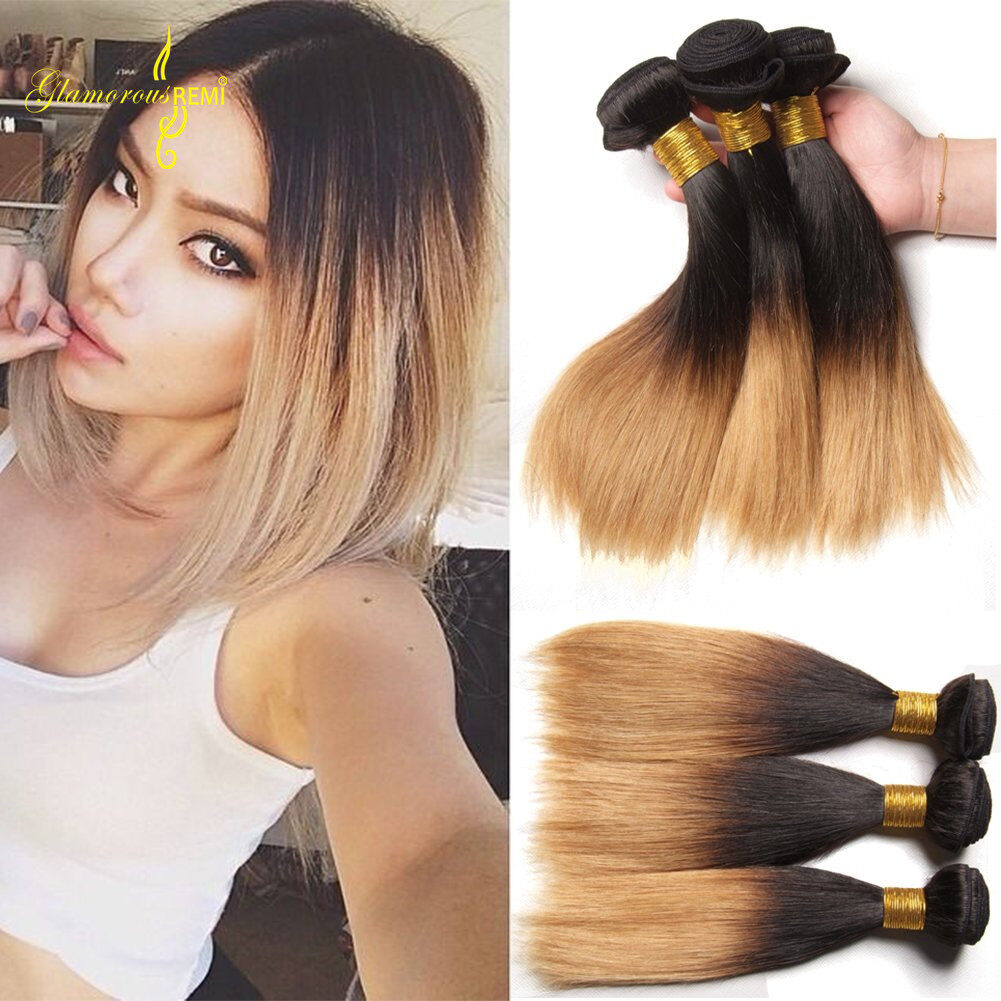 Ombre Straight Hair Bundles Two Tone 1b 27 Virgin Remy Hair Weave