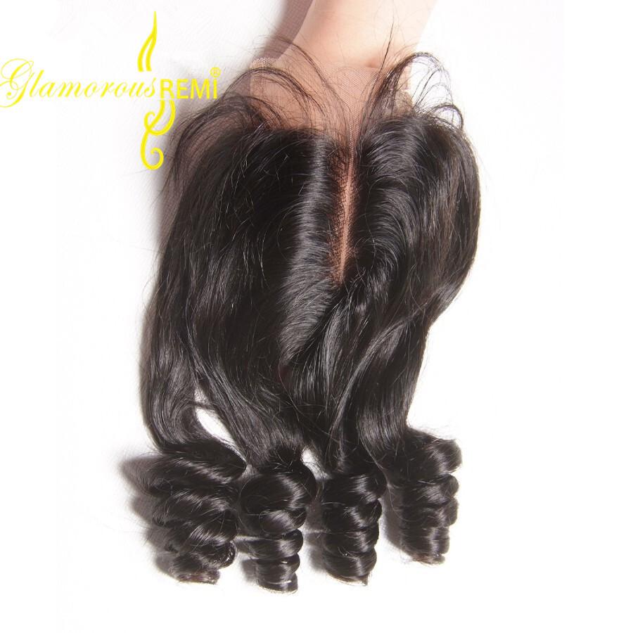 Brazilian Virgin Hair Funmi Hair Weave Bouncy Curl Closure 44 Top