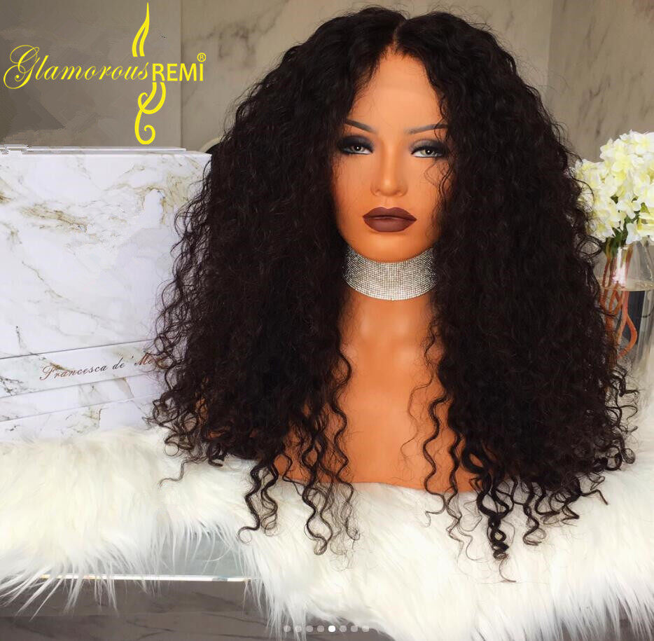 Glamorous Remi Curly Human Hair Wigs 130 And 150 Density