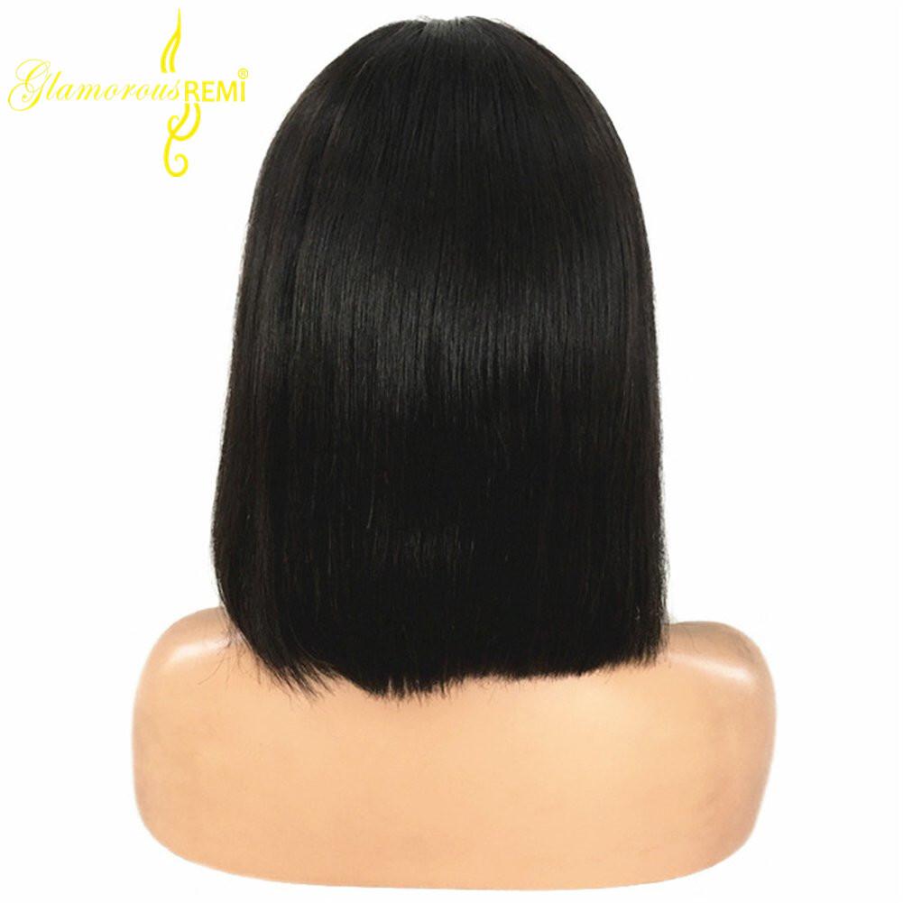 Short Bob Wigs Black Wig For Women Peruvian Virgin Human