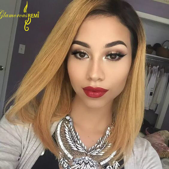 Ombre Human Hair Lace Front Wig For Black Women Brazilian