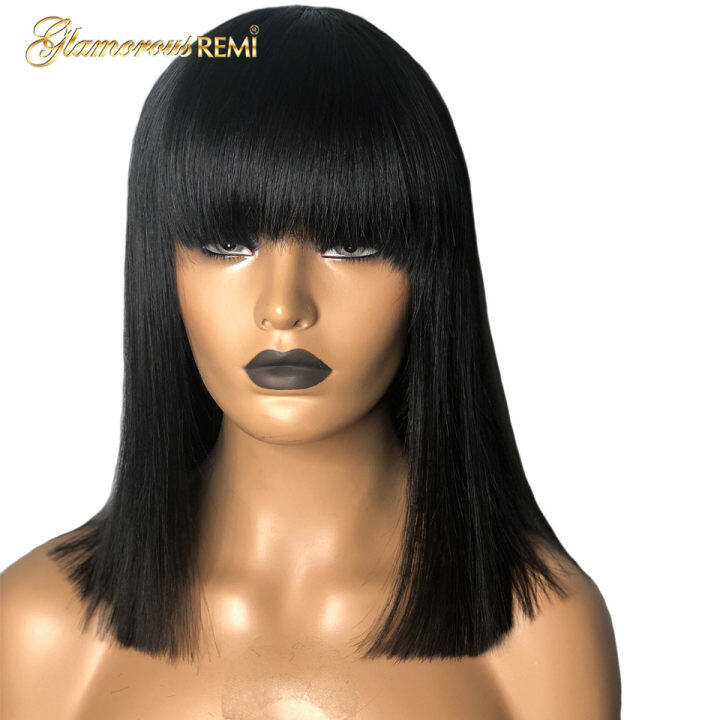 Long Black Sexy Wig With A Bang And Human Quality Hair