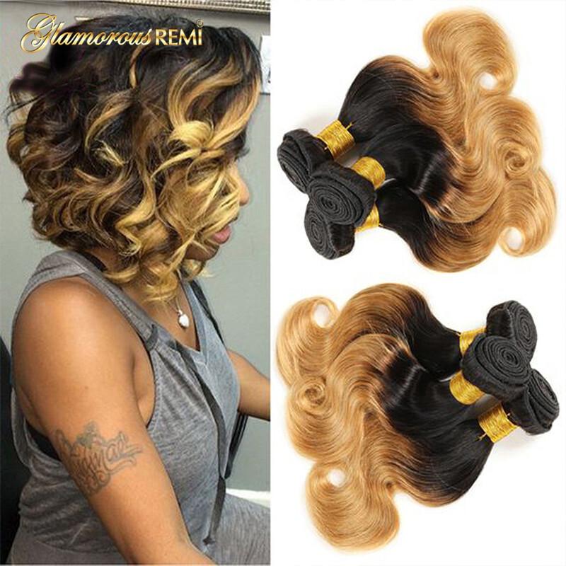 Ombre Body Wave 3 Bundles Short Blonde Brazilian Human Hair Weave ... c66bc1900