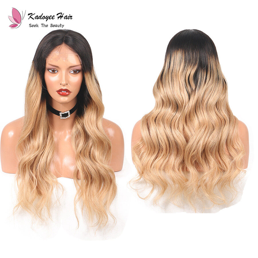 Kadoyee Human Hair Big Loose Wave Lace Front Wig Ombre