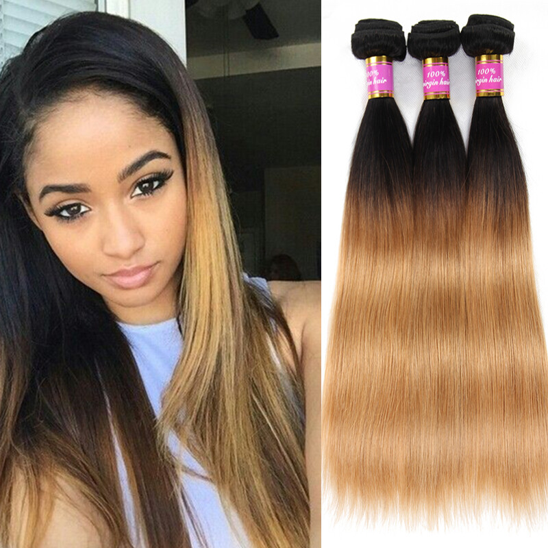 Ombre Human Hair Bundles Hair Weave 1b27 Two Tone Ombre Remy Hair