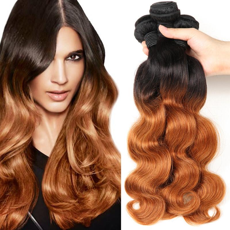 Body Weave Hair Bundles Ombre Human Hair Weave Bundles Two Tone 1b