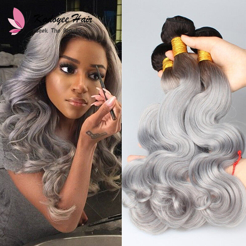 Ombre Body Weave Human Hair Extensions 1bgrey Ombre 2 Tone Non Remy