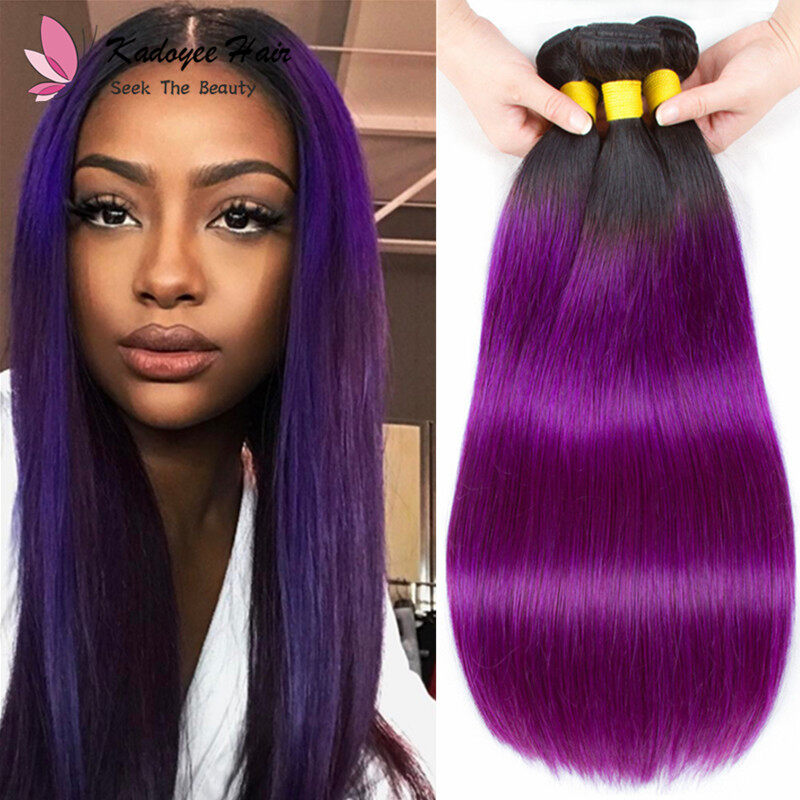 Pre Colored Straight Bundles 1bpurple Human Hair Weave Bundles 3pcs