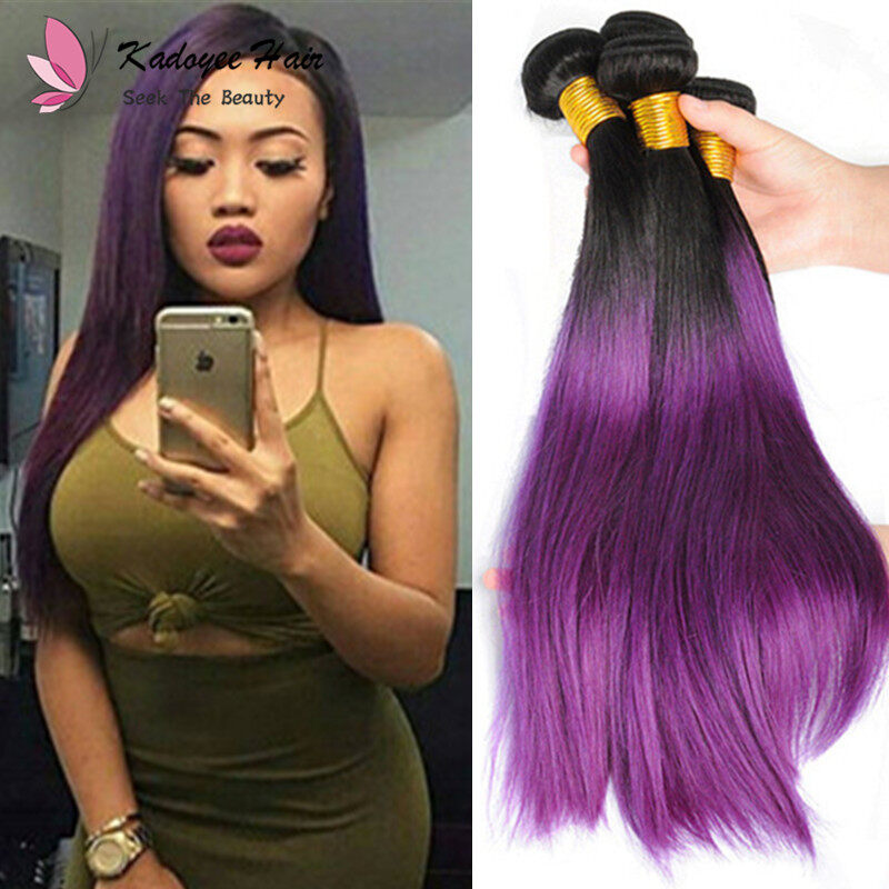 Pre Colored Straight Bundles 1bpurple Human Hair Weave Bundles 3pcs
