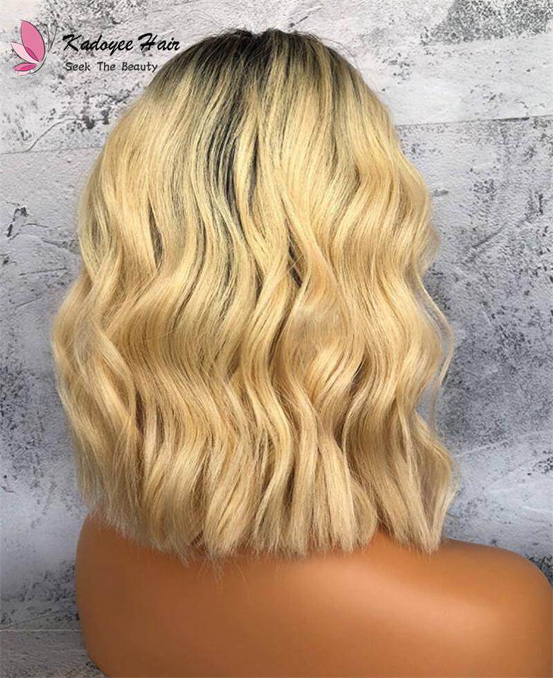 Fashionable Good Quality Short Bob Goddess Blonde Wavy
