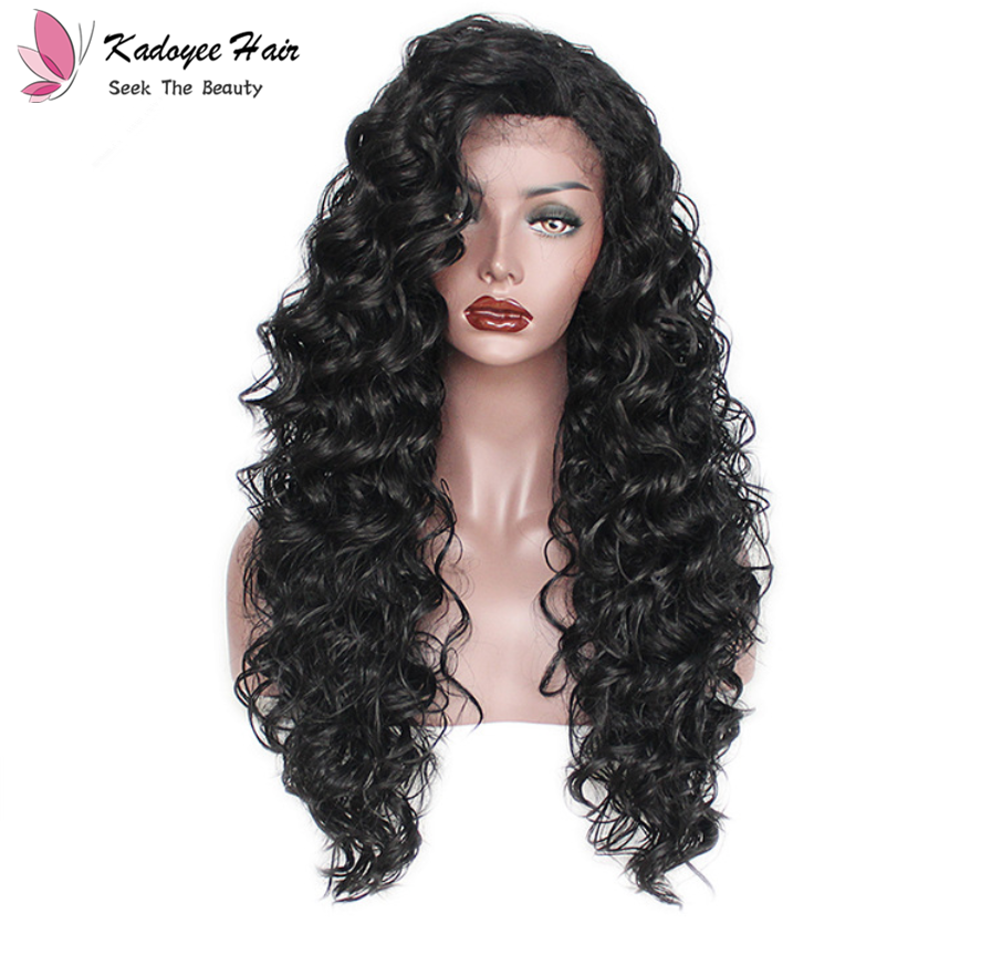 Synthetic Lace Front Wigs Curly Wave Free Part Natural Color Natural Hairline Wig for Women 1