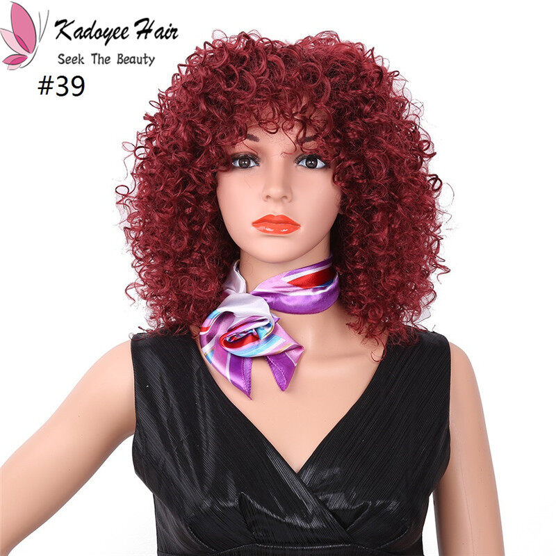 Best 14inch Plxie Wig Synthetic Wig Kinky Curly Burgundy Blonde Color Highlighted Balayage No Lace Front Wigs For Women At Shop