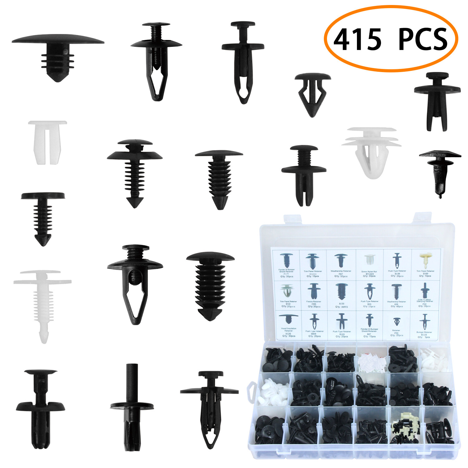 415 PCS Car Retainer Clips Auto Push Pin Rivet Clips Car Trim Panel Body Plastic Fastener Clips Kit With Fastener Remover 19 Most Popular Sizes For GM Ford Toyota Honda Chrysler With Plastic Storage Case 0