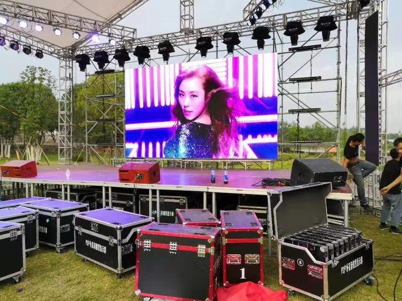 stage truss system | giant screen rental | city color light