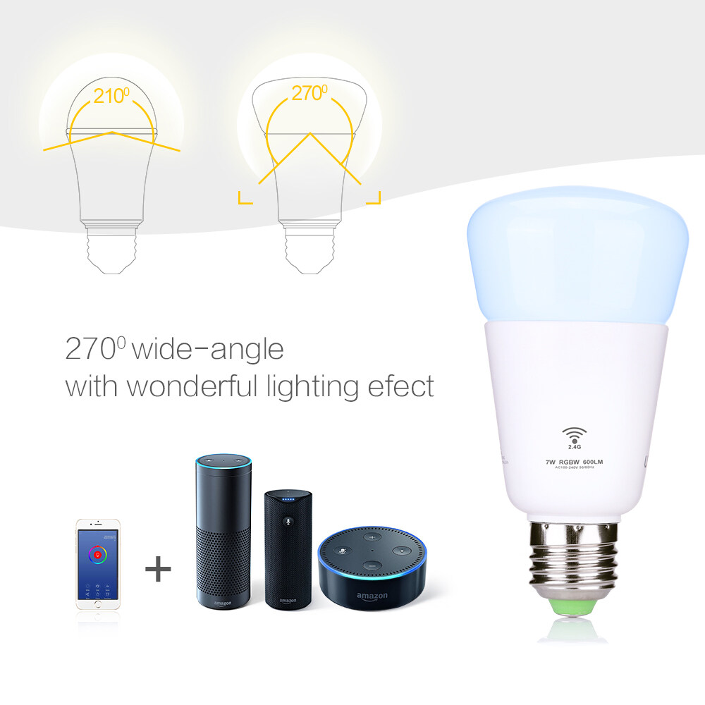 7W Smart WIFI LED Bulb Light RGBW Dimmable Works with Amazon Alexa /Google Home7W Smart WIFI LED Bulb Light RGBW Dimmable Works with Amazon Alexa /Google Home