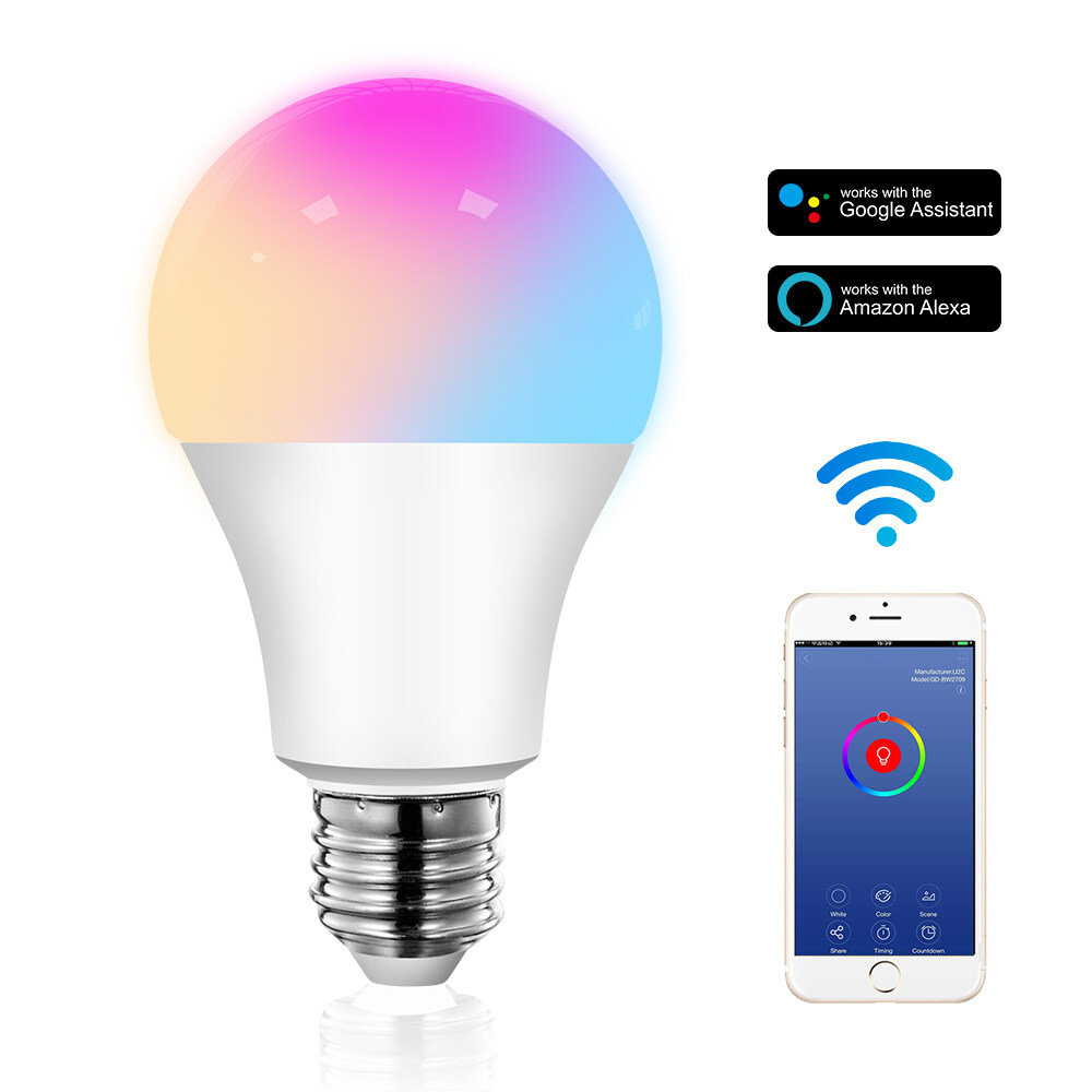 12W Smart Wi-Fi LED Bulb -Multicolor A light fixture that can be controlled by a mobile phone12W Smart Wi-Fi LED Bulb -Multicolor A light fixture that can be controlled by a mobile phone