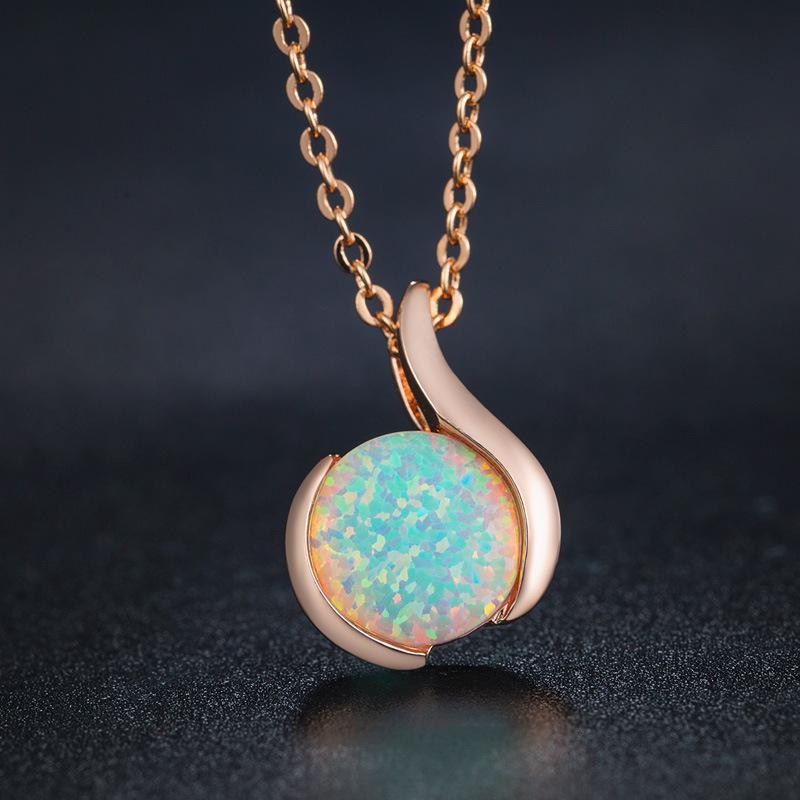 Elegant White Fire Opal Round Necklace Pendants For Women