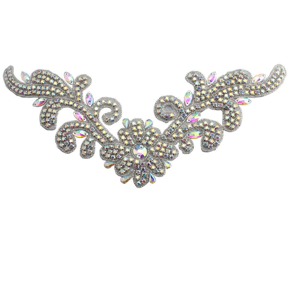 Rhinestone Diamante Applique Sew on Motif Silver Crystal Patch for Wedding Dress