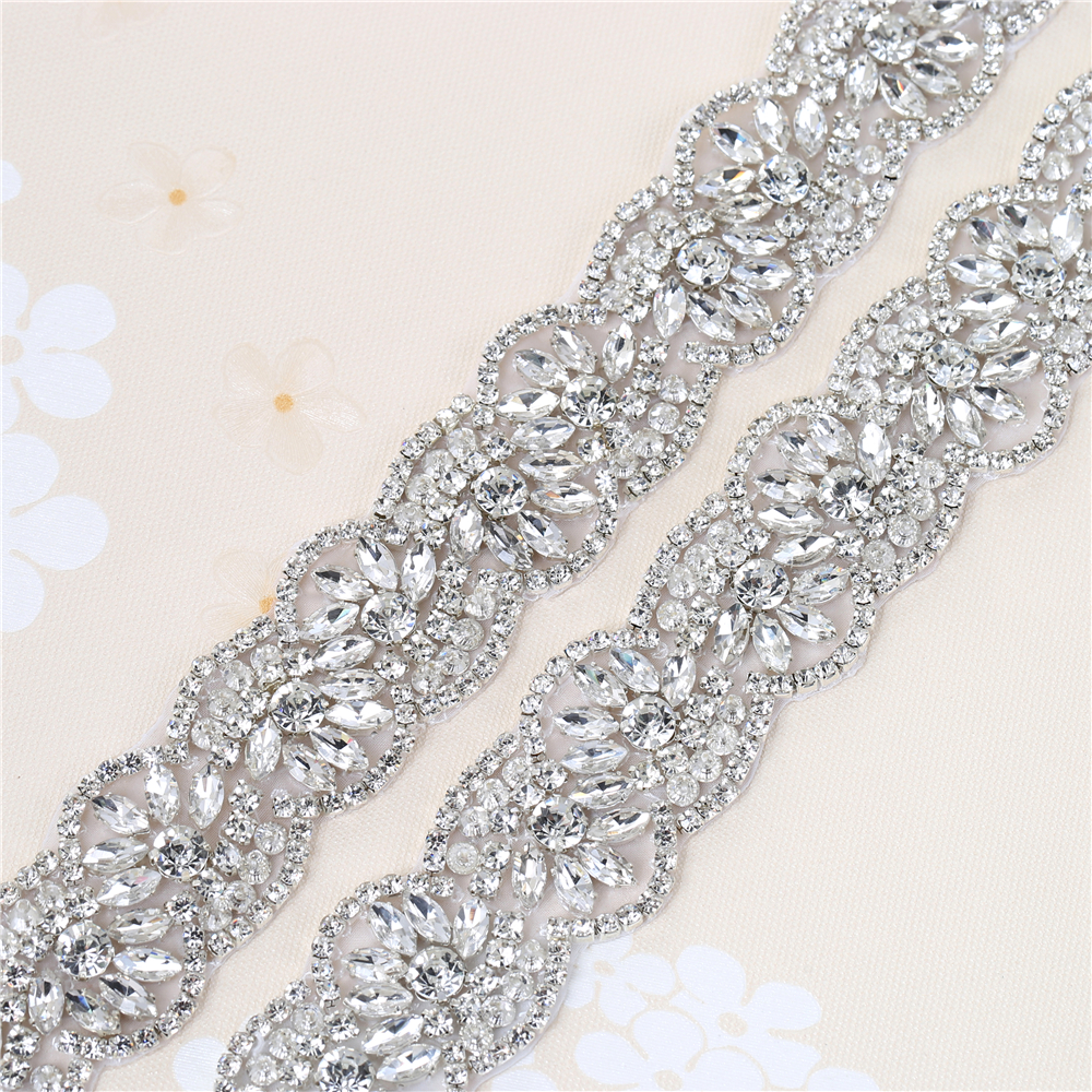 Rhinestone Wedding Dress Applique For Bridal Ribbon Belt