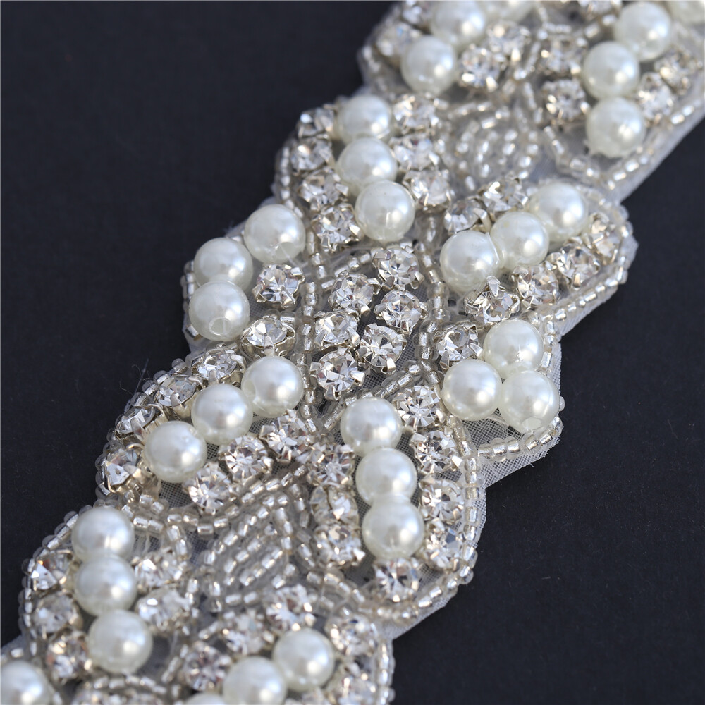 Silver Crystals Diamante Rhinestone with Pearl Applique Motif Patch Sewing Dress