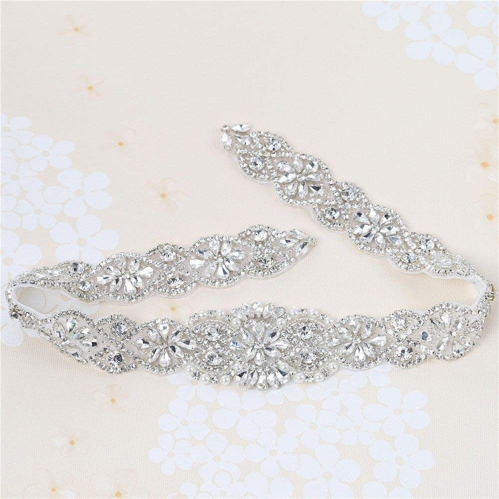 Crystal Applique Handmade Wedding Rhinestone Applique with Pearls for Dresses and Bridal Belts or Headpieces