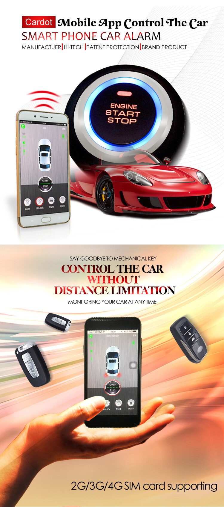 3G gps gsm car alarm with electrical start stop switch gps tracker with sim  card supporting keyless go china manufactuer